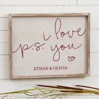 P.S. I Love You 14-Inch x 18-Inch Barnwood Frame Wall Art