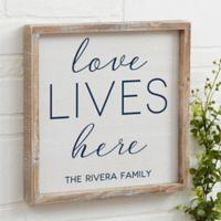 Love Lives Here 12-Inch x 12-Inch Barnwood Frame Wall Art