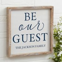 Be Our Guest 12-Inch x 12-Inch Barnwood Frame Wall Art