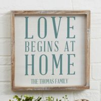 Love Begins at Home 12-Inch x 12-Inch Barnwood Frame Wall Art