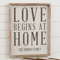 Love Begins at Home 14-Inch x 18-Inch Barnwood Frame Wall Art
