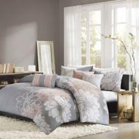 Madison Park Lola Full/Queen Duvet Cover Set in Grey/Blush