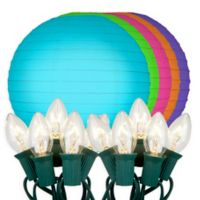 """Electric String Light with 10"""" Paper Lanterns in Multi Color (10 Lights)"""