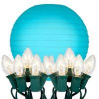 Luma 10-Light 10-inch Round Paper Lanterns in Turquoise
