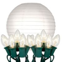 """Electric String Light with 10"""" Paper Lanterns in White (10 Lights)"""