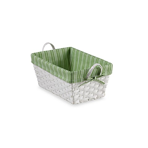 Natural String Small Basket with Stripe Liner in Green