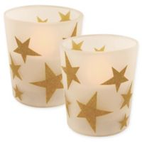 Battery Operated Wax Candles Filled in Gold Star Glass with Timer (Set of 2)