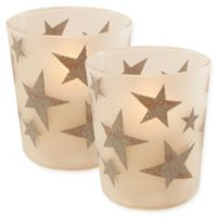 Battery Operated Wax Candles Filled in Silver Star Glass with Timer (Set of 2)