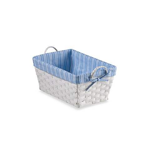 Natural String Small Basket with Stripe Liner in Blue