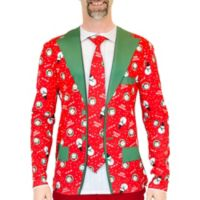 Faux Real X-Large Christmas Suit & Tie Long Sleeve Tee in Red
