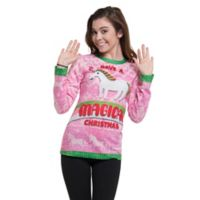 Faux Real Large Magical Christmas Tee in Pink