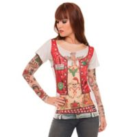 Faux Real Large Ugly Christmas Biker T-Shirt with Tattoo Sleeves