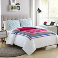 Elephant 3-Piece Reversible Full/Queen Duvet Cover Set in Pink/Teal