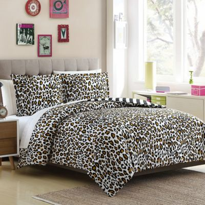 Leopard Reversible Twin/Twin XL Duvet Cover Set In Brown/Black