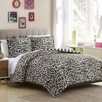 Leopard Reversible Twin/Twin XL Duvet Cover Set in Brown/Black