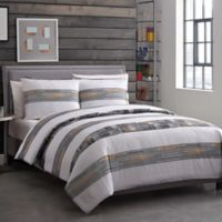 Decker 4-Piece Reversible Full/Queen Duvet Cover Set in Grey