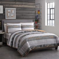 Decker 4-Piece Reversible Full/Queen Quilt Set in Grey