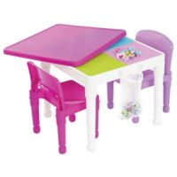 Tot Tutors 2-in-1 LEGO®-Compatible Construction Table with 2 Chairs in White/Purple/Pink