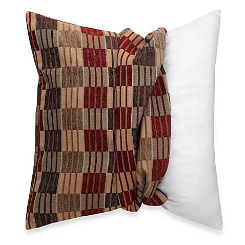 Make-Your-Own-Pillow Stripes and Ladders Square Throw Pillow Cover in Red/Brown - Bed Bath & Beyond