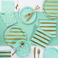Foil Dots, Stripes and Solid 73-Piece Party Supply Kit in Mint Green/Gold