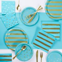 Gold Foil 73-Piece Party Supply Kit in Bermuda Blue