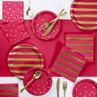Gold Foil 73-Piece Party Supply Kit in Red