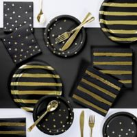 Gold Foil 73-Piece Party Supply Kit in Black