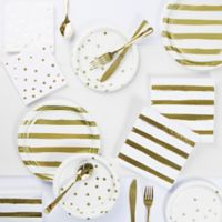 Gold Foil 73-Piece Party Supply Kit in White