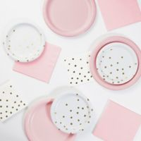 Foil Dots 52-Piece Party Supply Kit in Pink/Gold/White