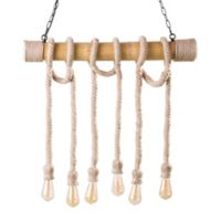 Southern Enterprises Montez DIY 6-Light Ceiling-Mount Rope Pendant Light in Natural