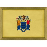 New Jersey Textured State Flag 34-Inch x 24-Inch Framed Wall Art