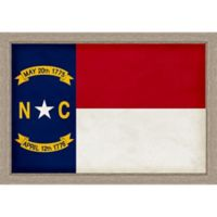 North Carolina Textured State Flag 34-Inch x 24-Inch Framed Wall Art