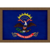 North Dakota Textured State Flag 34-Inch x 24-Inch Framed Wall Art