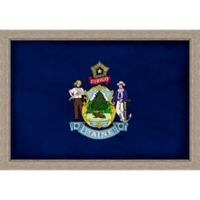 Maine Textured State Flag 34-Inch x 24-Inch Framed Wall Art