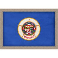 Minnesota Textured State Flag 34-Inch x 24-Inch Framed Wall Art