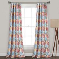 Lush Decor Blooming Flower 84-Inch Rod Pocket Room Darkening Window Curtain Panel Pair in Blue/Red