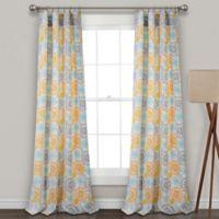 Lush Decor Blooming Flower 84-Inch Rod Pocket Room Darkening Window Curtain Panel Pair in Yellow