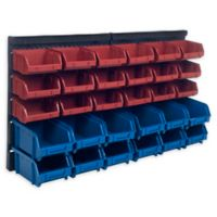 Stalwart 31-Piece Wall-Mount Parts Rack in Bklue/Red