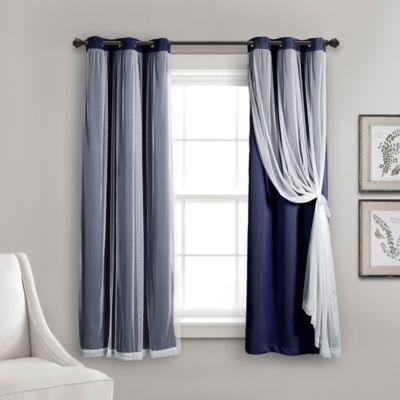 Lush Decor 63 Inch Grommet Sheer Room Darkening Lined Window Curtain Panel Pair In