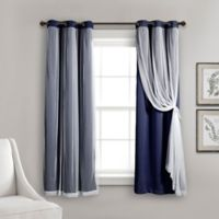 Lush Decor 63-Inch Grommet Sheer/Room Darkening Lined Window Curtain Panel Pair in Navy