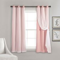 Lush Decor 63-Inch Grommet Sheer/Room Darkening Lined Window Curtain Panel Pair in Pink
