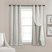 Lush Decor 63-Inch Grommet Sheer/Room Darkening Lined Window Curtain Panel Pair Light Grey