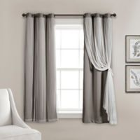 Lush Decor 63-Inch Grommet Sheer/Room Darkening Lined Window Curtain Panel Pair in Dark Grey