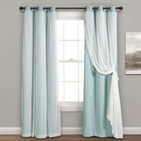 Lush Decor 84-Inch Grommet Sheer/Room Darkening Lined Window Curtain Panel Pair in Blue