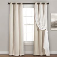 Lush Decor 84-Inch Grommet Sheer/Room Darkening Lined Window Curtain Panel Pair in Wheat