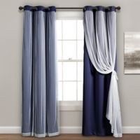 Lush Decor 84-Inch Grommet Sheer/Room Darkening Lined Window Curtain Panel Pair in Navy