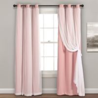 Lush Decor 84-Inch Grommet Sheer/Room Darkening Lined Window Curtain Panel Pair in Pink