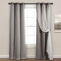 Lush Decor 84-Inch Grommet Sheer/Room Darkening Lined Window Curtain Panel Pair Light Grey