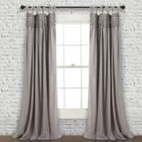 Lush Décor Lydia Ruffle 84-Inch Tie Top Window Curtain Panel Pair in Grey