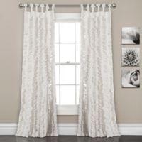 Lush Decor Sophia Ruffle 84-Inch Tie Top Window Curtain Panel Pair in White
